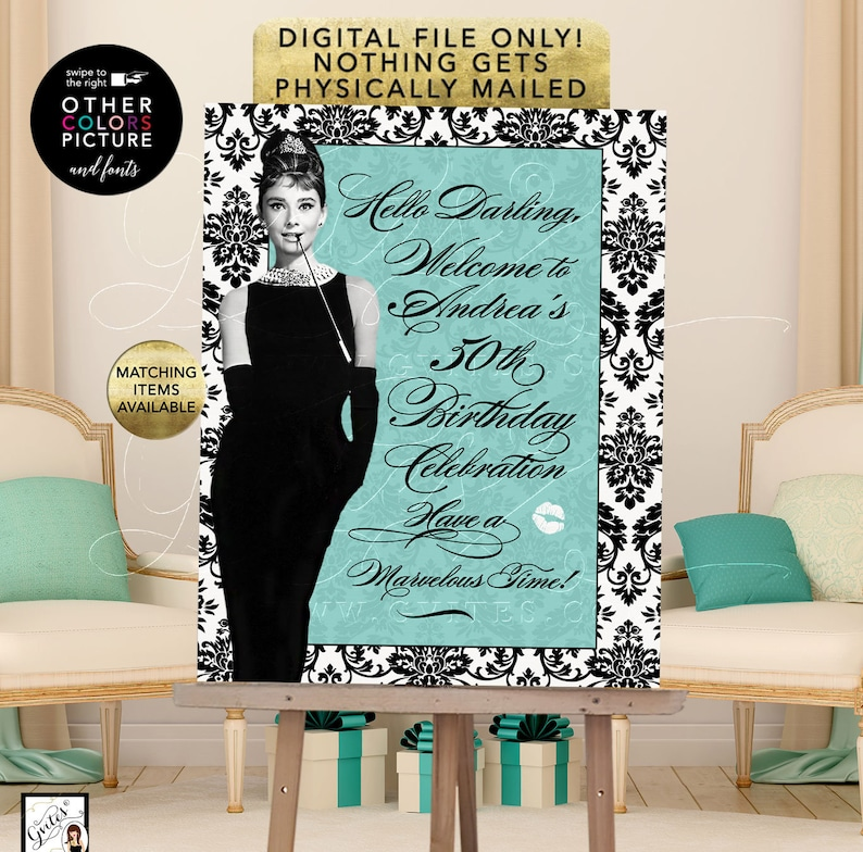 picture about Printable Fonts for Signs titled Audrey Hepburn 50th Birthday Signs or symptoms Customizable Phrases, Fonts, Colours and Visualize. Electronic Document Just! Blue Occasion Themed Printable.