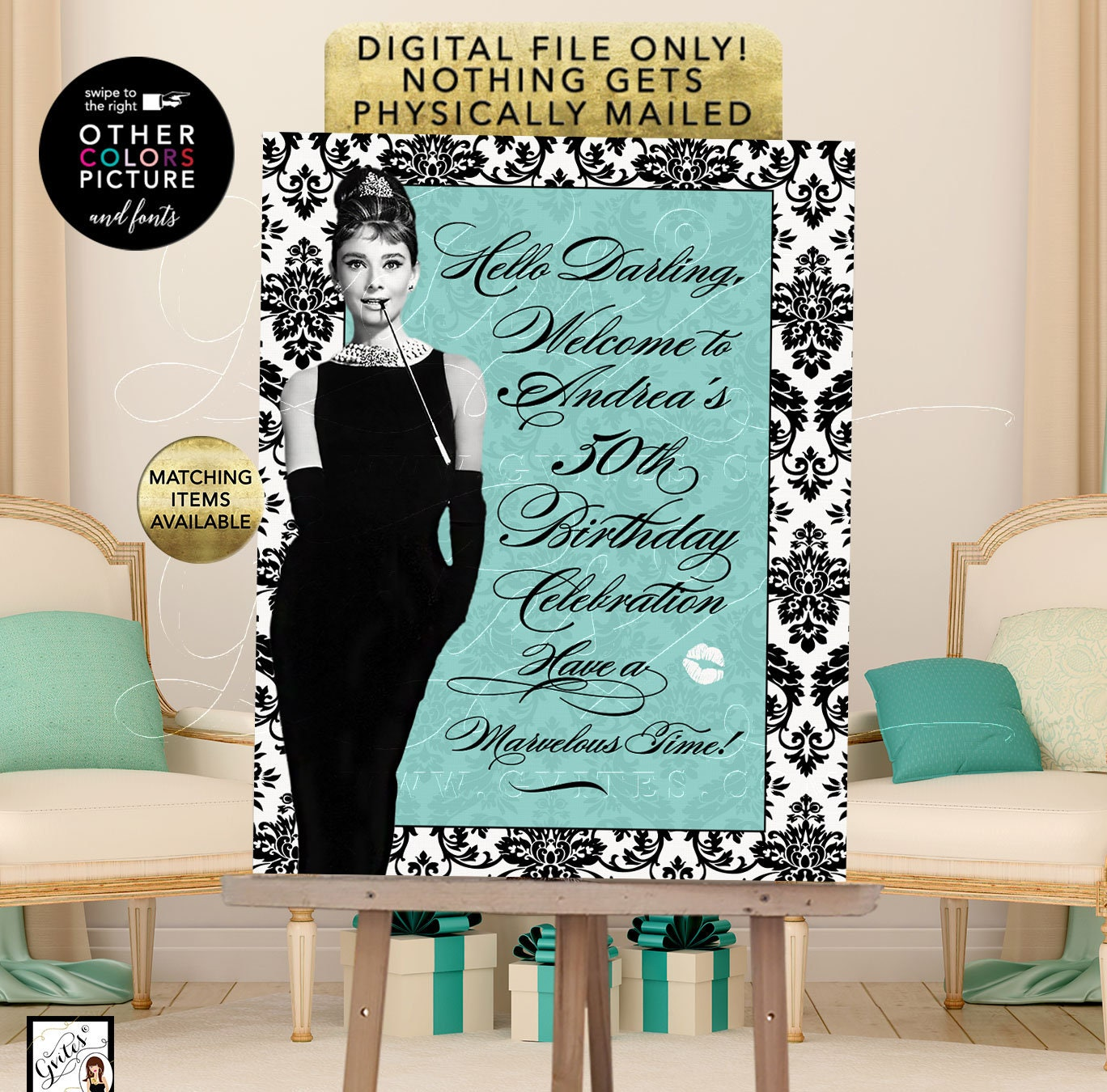 graphic about Printable 50th Birthday Signs titled Audrey Hepburn 50th Birthday Symptoms Customizable Terms/ Fonts