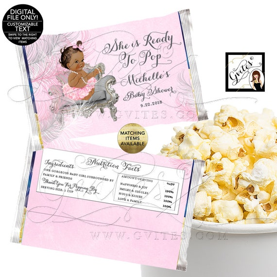 Baby Shower Popcorn Wrappers She Is Ready To Pop Printable Party