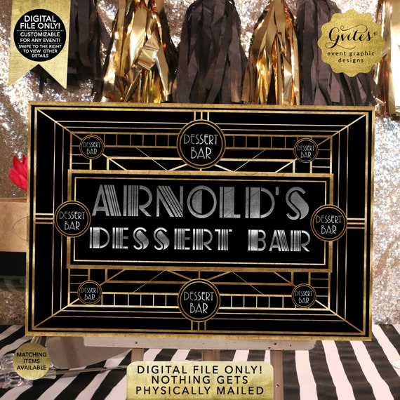 Dessert Bar Table Backdrop / The Great Gatsby Black Silver Gold / 1920s Vintage Theme. Printable/Digital