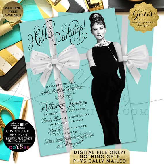"Personalized 30th/40th/50th ANY Birthday Invitation | Breakfast at Audrey Hepburn Vintage Theme | 5x7"" Double Sided. Printable/Digital Only!"