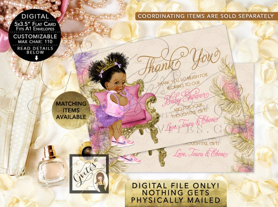 "Baby Shower Thank You Cards Personalized | Pink Purple & Gold Afro Puffs Vintage | Digital File | JPG + PDF {5x3.5"" 4 Per/ Sheet}"