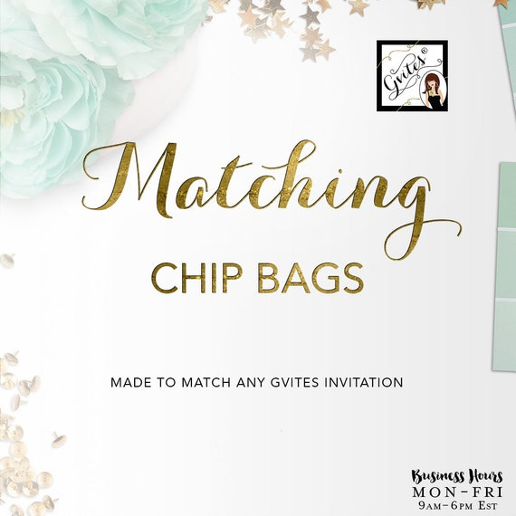 Matching Chip Bag Add-on - To coordinate with any Gvites invitation design.