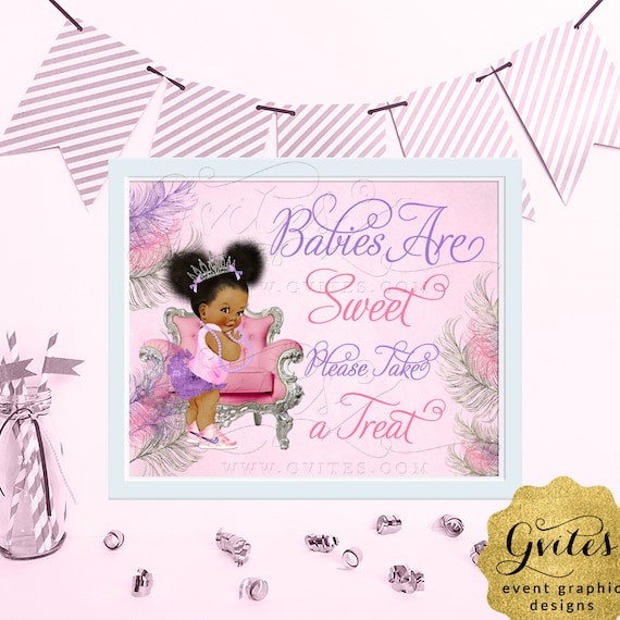 "Babies are Sweet Have a Treat Sign Baby Shower / Pink Purple Silver Afro Puffs Vintage African American Princess. {6x4"", 7x5"" or 10x8""}"