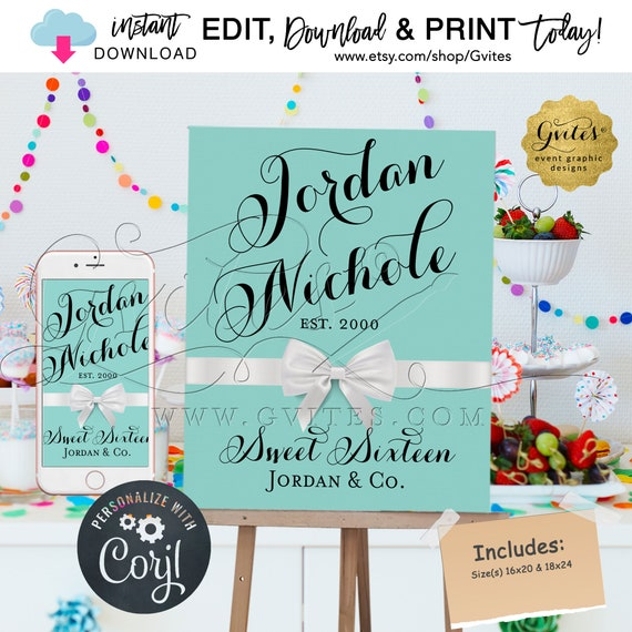 """Sweet 16 Welcome Sign Breakfast at Birthday Poster Printable/Decorations. {Cant Print in Size(s) 16x20"""" & 18x24""""} Edit TODAY W/Corjl'"""