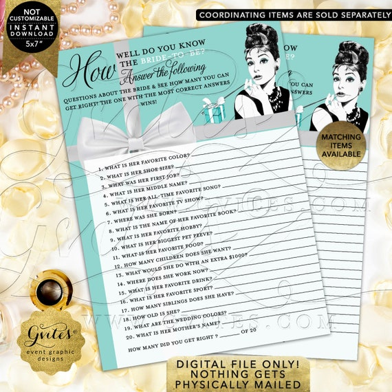How well do you know the bride-to-be. AudreyHepburn Game Cards Printable Digital File: JPG + PDF {AUDADS-111}