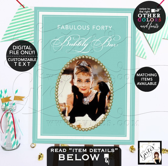 Audrey Hepburn Poster Signs | Fabulous Forty Table Dessert Cake Backdrop | Breakfast at blue themed | Adult birthday gold PRINTABLE