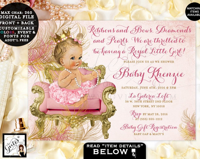 Blush pink and gold royal princess baby shower invitations, vintage baby girl invitation, printable, diamonds pearls Gvites