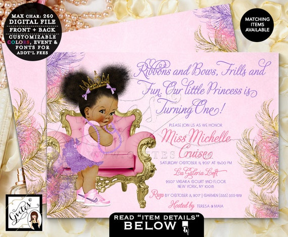 "Gold Pink and Purple First Birthday Invitations | Afro Puffs Baby Girl African American 7x5"" Gvites"