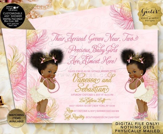 Twin Baby Shower Invitation Pink Gold Princess African American Girl Afro Puffs Curly Hair | JPG + PDF {Design: TWACE-104} By Gvites