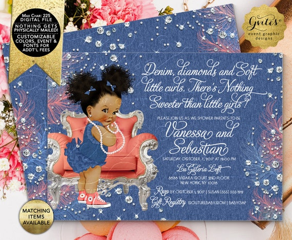 "Denim and Diamonds Soft Little Curls Coral Blue | Baby Shower Invitation | Afro Puffs Vintage African American Girl | 7x5"" Double Sided"