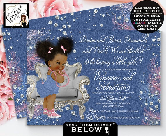 Denim and diamonds baby shower invitation/ denim bows ribbons and pearls/ African American girl pink blue Afro Puffs | Design: DDRBC-101
