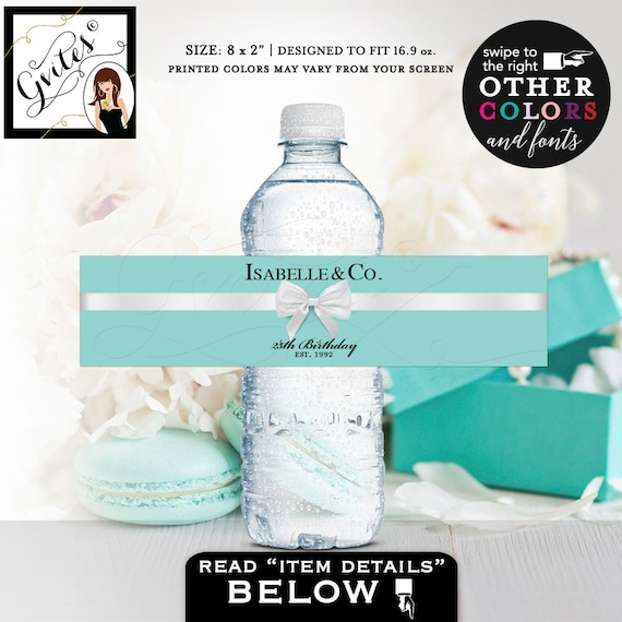 """25th Birthday Water Bottle Labels/ Isabelle & Co Stickers breakfast at blue {REALISTIC SATIN RIBBON} 8x2""""/ 5 Per Sheet Digital File Only!"""
