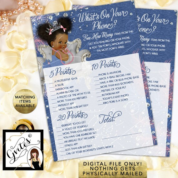 Printable Baby Shower Games / What's On Your Phone / Blue Denim Princess Ballerina Diamonds Pink & Silver / INSTANT DOWNLOAD
