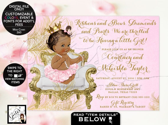 "African American princess Pink Gold Baby shower invitation tutu invite Digital File 7x5"" Gvites {White/ Gold Feathers} 