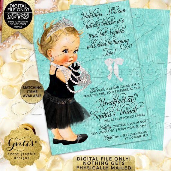 "First Birthday Invitation Breakfast at Baby Co Ribbons Bows Diamonds Pearls Vintage Theme | 5x7"" double sided Gvites"