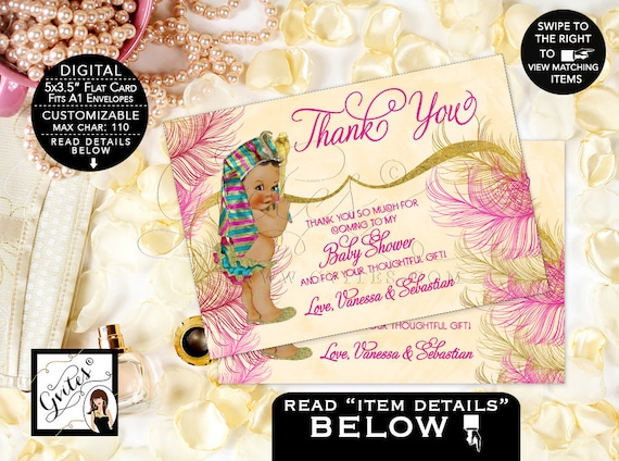 "Thank You Cards Egyptian Baby Shower Pharaoh Party Personalized Printable {5x3.5"" 4 Per/Sheet}"