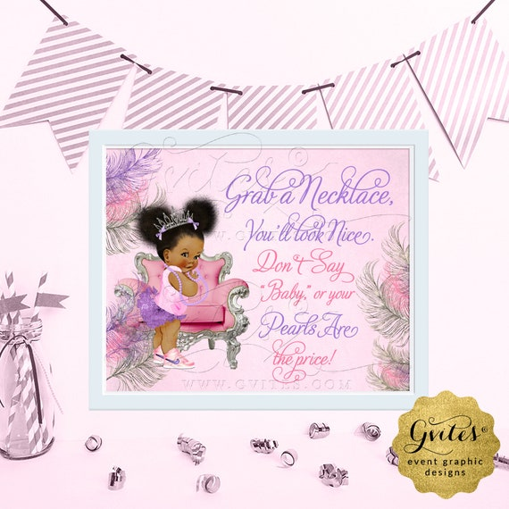 "Don't Say Baby Pearl Necklace Baby Shower Game Sign / Pink Purple Silver Afro Puffs Vintage African American Princess. {6x4"", 7x5"" or 10x8""}"