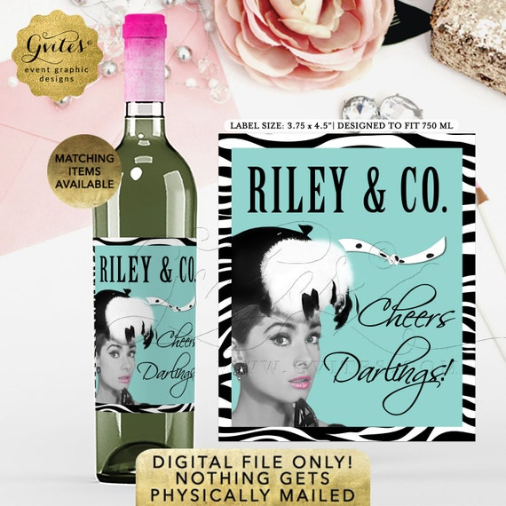 "Custom Bridal Shower Wine Labels Bride & Co. | Audrey Hepburn Party Theme Favors Gifts 3.75x4.5""/4 Per Sheet} Gvites"