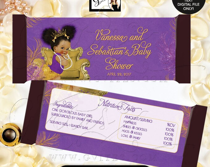 Purple and Gold Candy Bar Wrapper Baby Shower, African American Princess Afro Puffs Printable Party Decor favors, labels 2-Per/Sheet. Gvites
