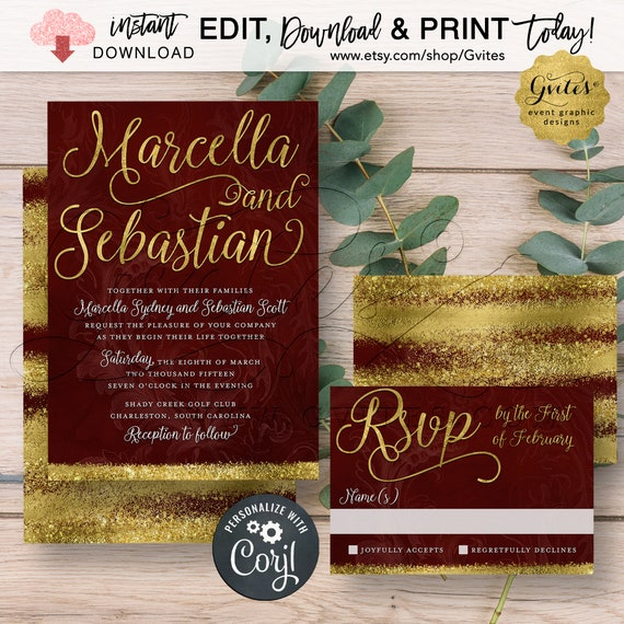 Printable Wedding Invitation Burgundy Maroon & Gold Wedding Watercolor. Luxury Fall Winter Invites.{Edit Yourself w/Corjl}