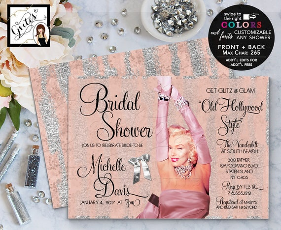 Marilyn Monroe Blush Pink & Silver Glitter Bridal Invitations/ Old Hollywood Style/ Glitz and glam/ Printable Personalized Invites