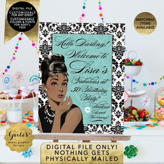 Welcome Fabulous at 50 Birthday Party Audrey Hepburn Birthday Signs/ Personalized Posters Digital/ African American Breakfast at Name Co.