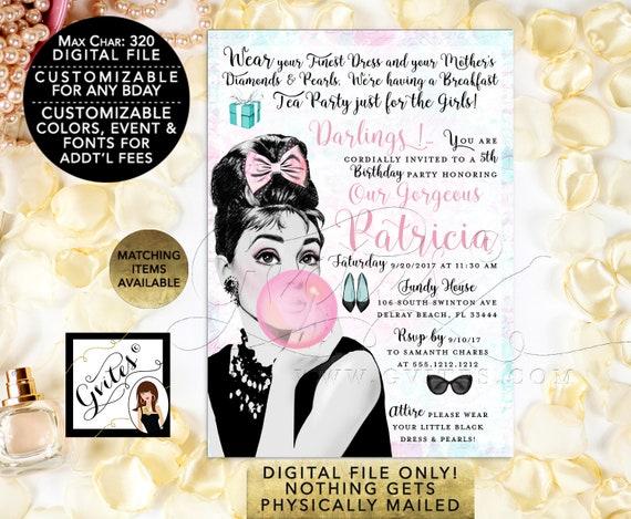 "Breakfast at Tiffanys Birthday Invitation | Audrey Hepburn Personalized Invites. Digital File Only! PDF + JPG, 5x7"""