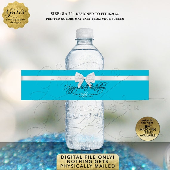 "80th Water Bottle Labels Personalized Sky Blue Party Favors Printable |  8x2""/5 Per Sheet."