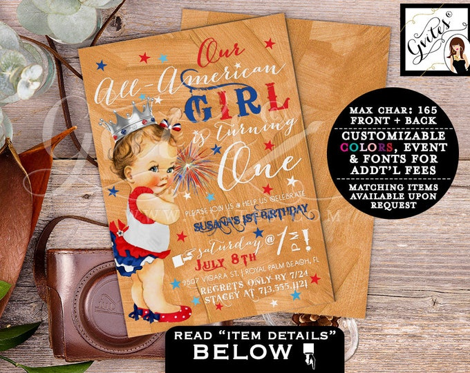 "ALL AMERICAN GIRL First Birthday 4th of July invitations, patriotic, rose gold red white & blue. 5x7"" Printable Digital Invitation, Gvites"