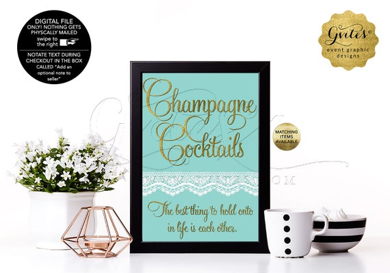 Champagne Cocktails Birthday or Bridal Table Signs With Personalized Audrey Hepburn Quote. Breakfast blue themed/ Digital file. 4x6 or 5x7