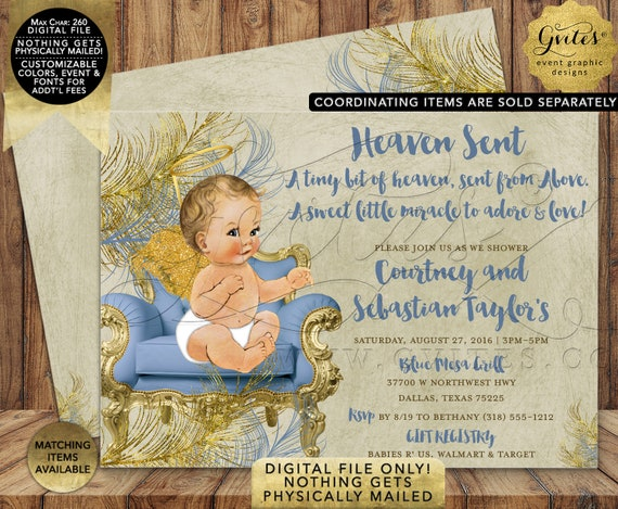 Baby Blue Beige and Gold | A Sweet Little Angel Baby Shower Invitation | Digital Printable File | JPG + PDF Format | By Gvites