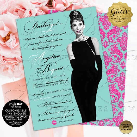 Pink Turquoise Blue/ Bridal Shower Audrey Hepburn Invitation/ Breakfast at blue themed and co wedding shower/ Printable/ 5x7/ double sided.