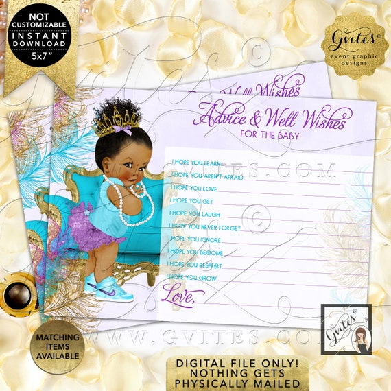 """Purple Gold Turquoise Lavender Advice baby shower wishes 