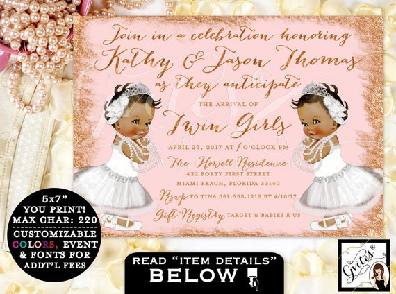 Princess Ballerina Twin Baby Shower Pink & Gold Invitations / African American Baby Girls / 3 Skin Tones / Tiaras White Lace Dress Pearls