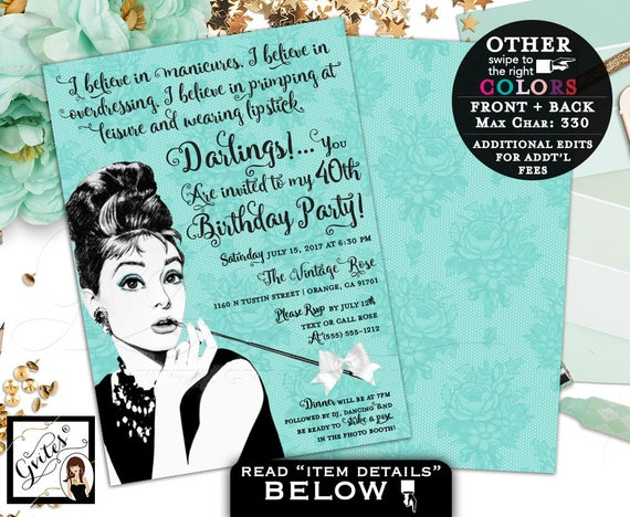 Breakfast at Birthday Party Invitations | Audrey Hepburn Vintage Blue Theme & Co Party 40th 50th 60th