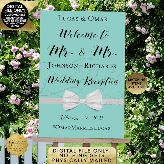 Gay Wedding Welcome Sign | Breakfast Blue Themed | Mr. & Mr. Welcome Poster Printable