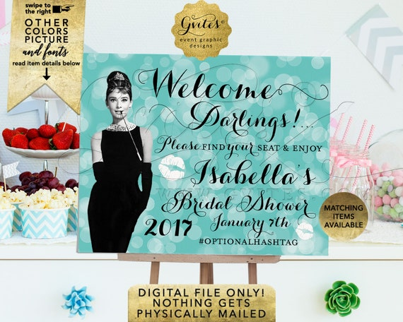 Bridal Shower Sign/ Printable Welcome Darlings Audrey Hepburn Themed/ Bride & Co Breakfast at Themed. Turquoise Blue/ Robin Egg/ Aqua/ Teal