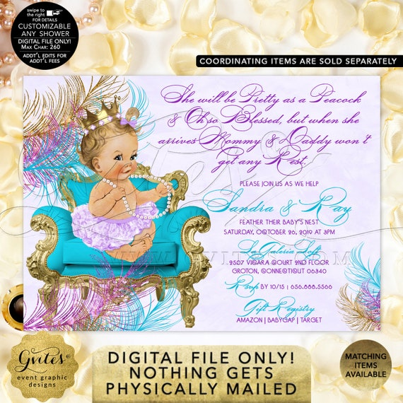 Peacock Baby Shower Invitation Turquoise Lavender Purple Gold | Digital PDF + JPG Format | By Gvites