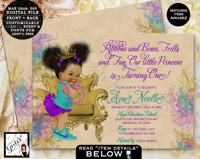 """Teal Purple and First Birthday Invitation, Afro Puffs Princess Gold Tiara, Peacock Beige, Printable Double Sided, 7x5"""" Gvites"""