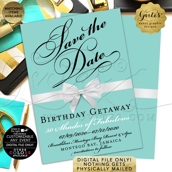 "Birthday Getaway Save The Date Cards | Customizable Any Event. Blue & White Bow. 5x7"" Double Sided."
