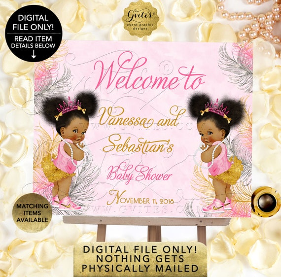 Pink Gold and Silver TWINS Baby Shower Welcome Sign/ Princess Decor/ Vintage Girl African American Afro Puffs {Pink/ Silver/ Gold Feathers}