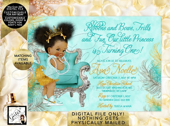 Turquoise Gold Silver Birthday Party Afro Puffs Princess | African American Baby Tiara Girl Invitations {Gold/Turquoise/Silver Feathers}