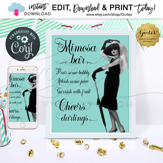 "Breakfast at Mimosa Bar Sign/Vintage Audrey Hepburn Party Decorations table decor & cards/Editable Template {8x10""}"