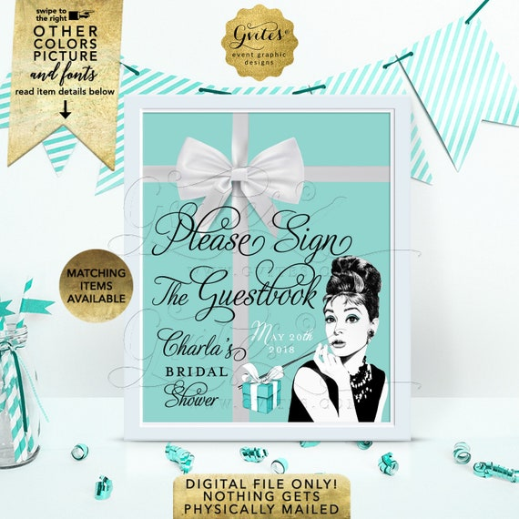 """Please Sign The Guestbook Breakfast at and Co themed - Audrey Hepburn Printable Party Signs/ Digital File Only! 8x10"""""""