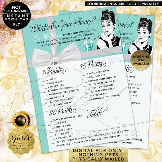 "What's On Your Phone Game Cards | Audrey Hepburn Bridal Shower | Printable Digital File | JPG + PDF | Instant Download | 5x7"" 2/ Per Sheet"