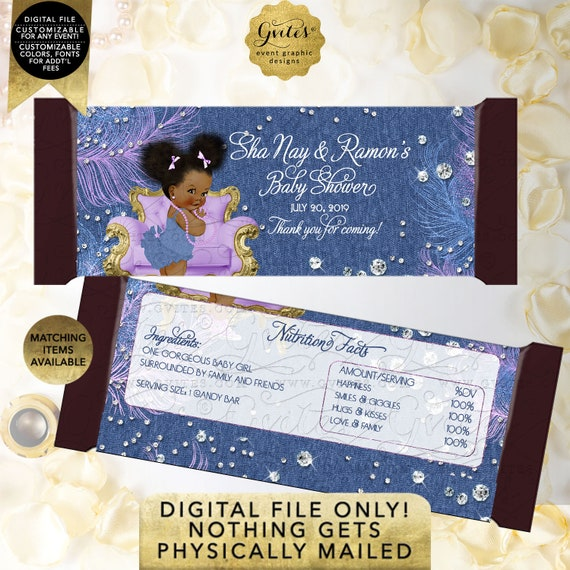 "Personalized Candy Bar Wrapper. Denim Diamonds Lavender Blue Silver Pearls. Digital File Only! Afro Puffs Girl {2 Per/ Sheet 5.25 x 5.75""}"