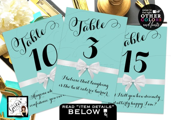 "Breakfast at Table Numbers | Party Table Signs W/ Audrey Hepburn Quotes or Your Personal Text. 4x6"" or 5x7"""