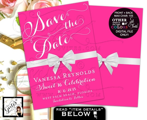 Pink Sweet 16 Save The Date Cards Breakfast At Themed White Bow