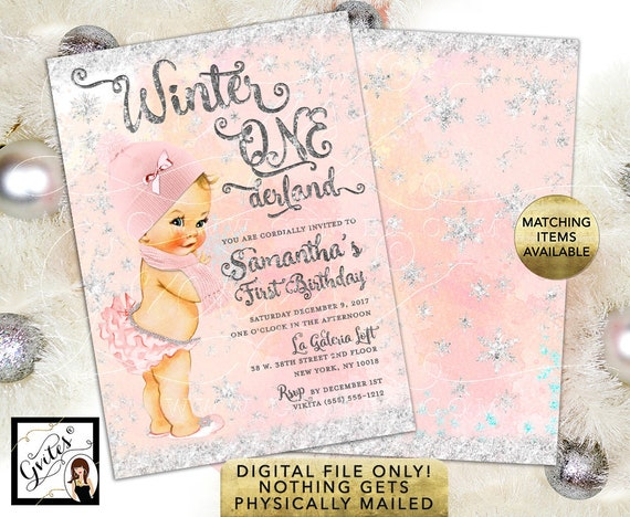 "Winter Wonderland ONEderland Birthday Blush Pink and Silver Watercolor Digital Background Snow Flakes, 5x7"" Double Sided."